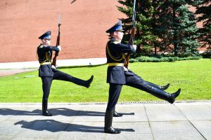 Goose stepping: Change of guards at the Tomb of the Unknown Solider outside the Kremlin, Moscow.