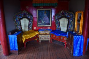 Inside the Buddhist temple in Manjusri Monastery in Bogd Khan Uul in Mongolia.