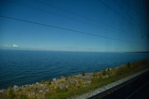Lake Baikal seen through the train window.