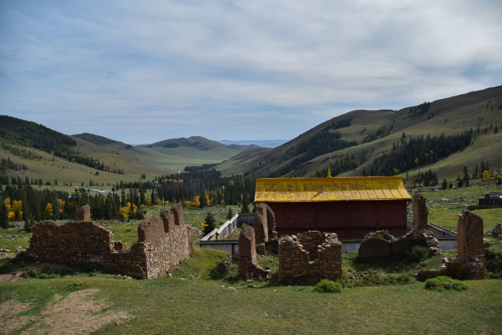 Manjusri Monastery and an incredible view of Bogd Khan Uul national park in Mongolia.