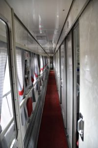 The hallway of our first-class wagon in train 008HA.