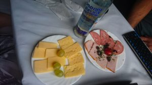 Cheese, zakuski and a bottle of vodka.
