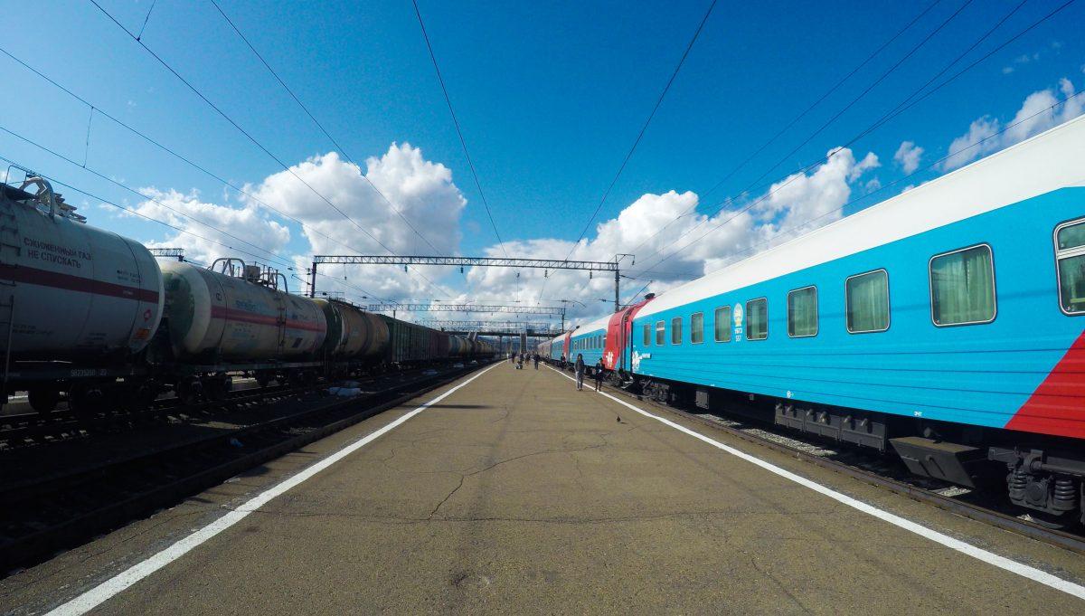 Our Mongolian train 006WA heading for Ulan Bator.