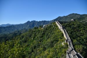 View from beneath the watchtower at The Great Wall at Mutianyu.